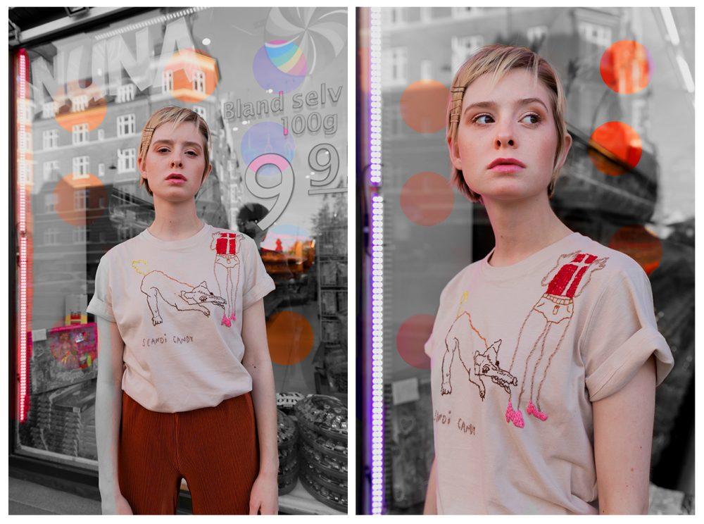 Beige Scandi Candy T-shirt by Algorithme
