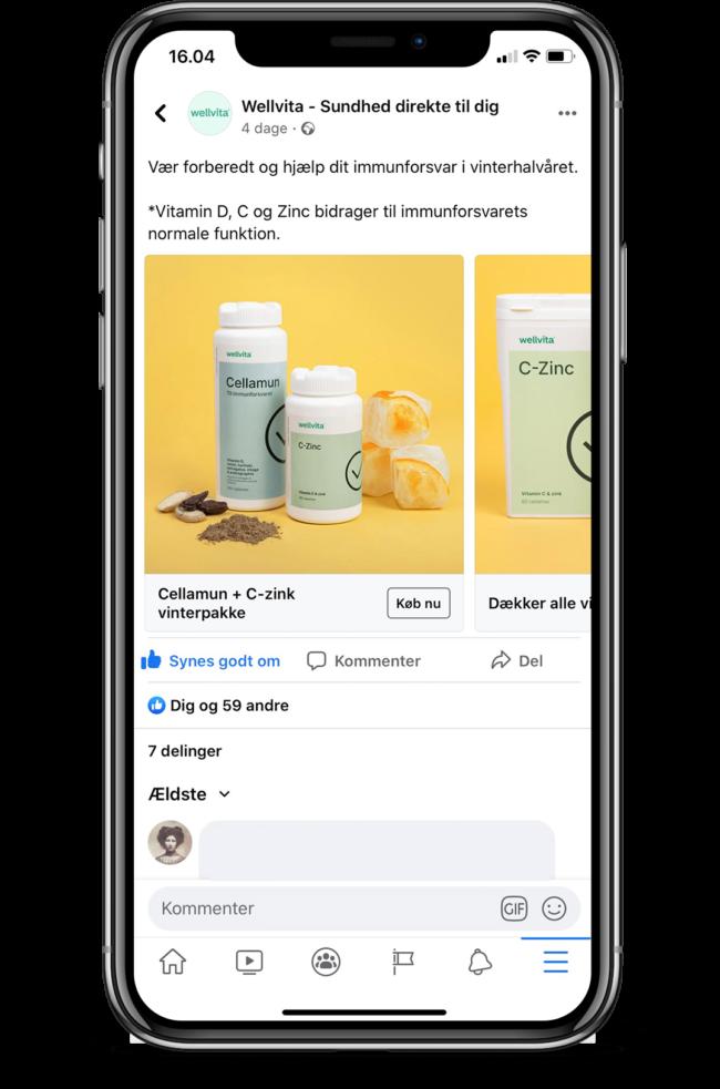 Wellvita Cellamun & C-zinc facebook ad