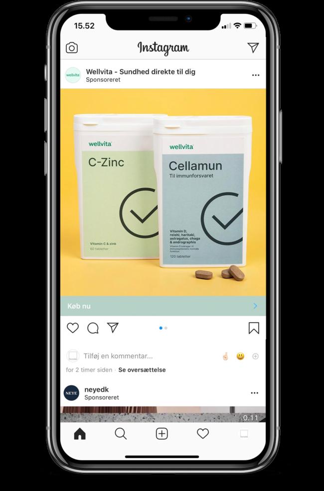 Wellvita Cellamun & C-zinc instagram ad